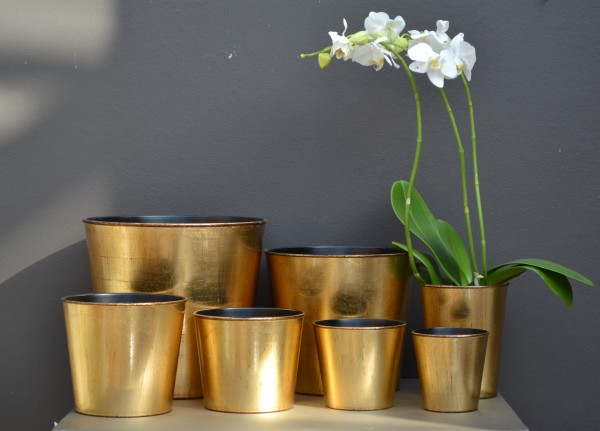 Vase ORCHIDEE GOLD BROWN D13 H16