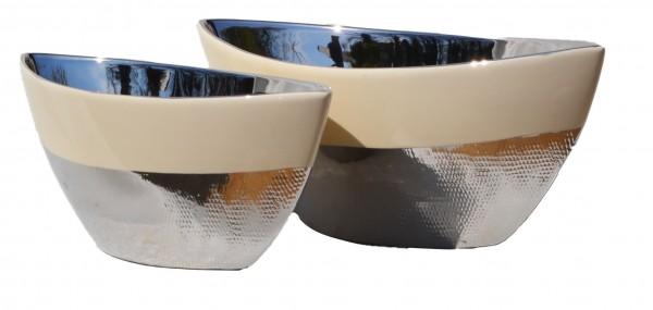 Schiffchen silber/creme LxBxH 30 x 12 x 12 cm