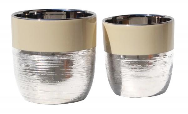 Topf silber/creme D16,5 x H16,5 cm